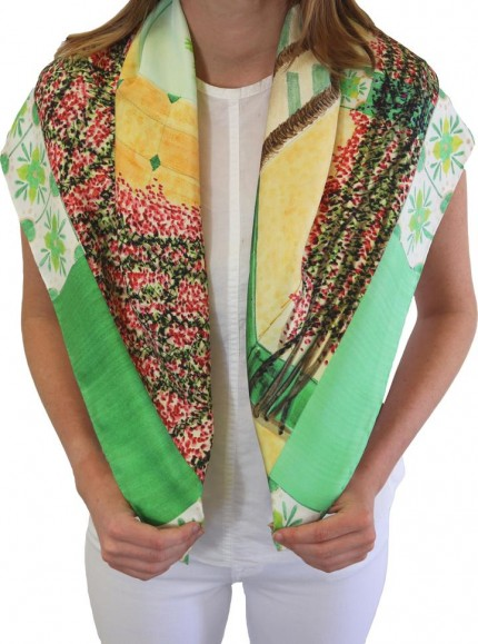 "Cara Arlette ""Palm Beach - Green"" 100% Silk Twills, Hand rolled hems, 32 x 32 inches"