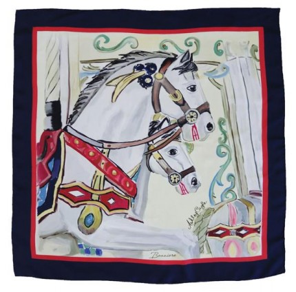 "Ashley Cagle ""Wellington - Carousel"" 100% Silk Twills, Hand rolled hems, 32 x 32 inches"