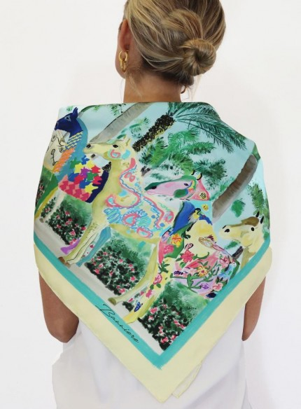 "Ashley Cagle ""Wellington - Painted Ponies"" 100% Silk Twills, Hand rolled hems, 32 x 32 inches"