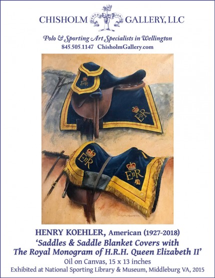 "Henry Koehler ""Saddles and Saddle Blanket Covers with The Royal Monogram of HRH Queen Elizabeth II of Great Britain"""