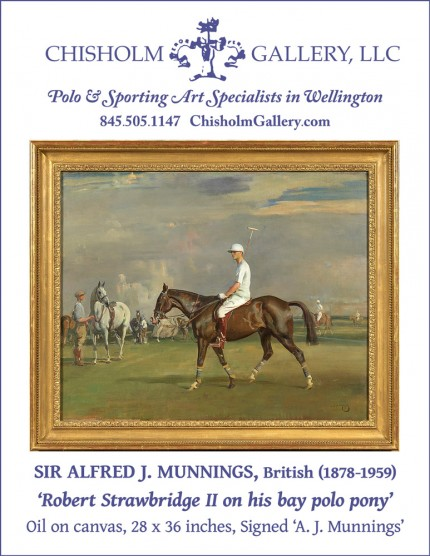"Sir Alfred J. Munnings ""Robert Strawbridge II on his bay polo pony"""