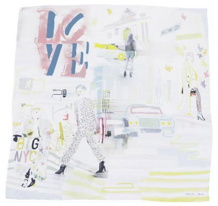 "Kate Sondag ""New York City"" 100% Silk twill, Hand rolled hems, 32 x 32 inches"