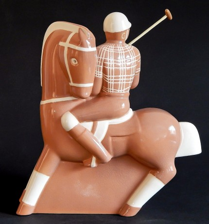 """Coral/Caramel Glazed Polo Player"" Ceramic, 9.5 x 8.5 x 6 inches (24.13 x 21.59 x 15.24 cm), Signed on bottom"