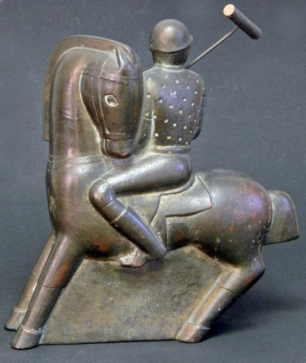 """Pair of Art Deco Polo Players"" Circa 1930s, Ceramic, 9.5 x 8.5 x 6 inches (24.13 x 21.59 x 15.24 cm), Signed on bottom"