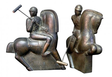 """""""Pair of Art Deco Polo Players"""" Circa 1930s, Ceramic, 9.5 x 8.5 x 6 inches (24.13 x 21.59 x 15.24 cm), Signed on bottom"""