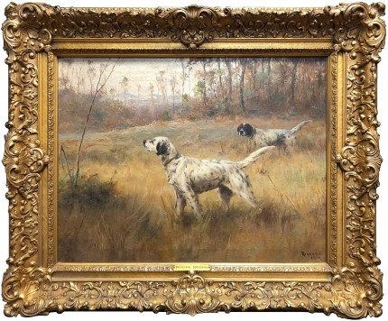 """""""Two Dogs in the Field"""" Oil on canvas, 22 x 29 inches (31.5 x 38.5 framed), Signed & Dated 1919 lower right"""