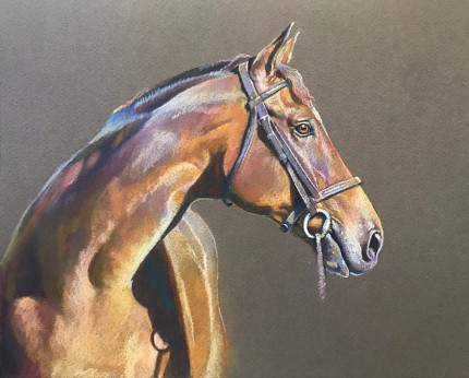 """Horse of a Different Color"" Pastel on paper, 9 x 12 inches, Signed"
