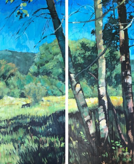 """Aspen Grove End"" Two panels, Acrylic on cardboard, 30 x 12 inches, Signed WB '16"