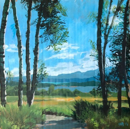 """Aspen Grove Trail"" Acrylic on cardboard, 14 x 14 inches, Signed WB '16"