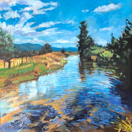 """Lake Fork at Farm to Market Road"" Acrylic on canvas, 18 x 18 inches, Signed WB '17"
