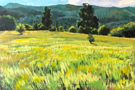 """Late Afternoon Meadow"" 14 x 20 inches, Signed WB '16"