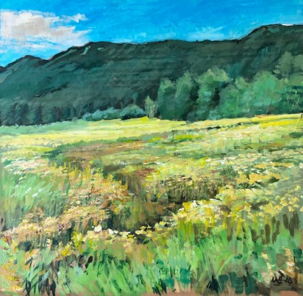 """""""West Mountain Creek Bed"""" Acrylic on cardboard, 18 x 18 inches, Signed WB '16"""