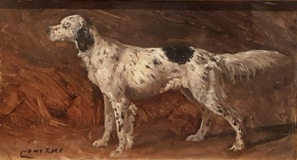"""""""English Setter"""" Oil on artist board, 5 x 9 inches, Signed"""