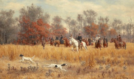 """""""Field Trials in North Carolina, (Southern Field Trials: Lightfield Deuce & Prince Lucifer), (Central Field Trials)"""" 1891, Oil on canvas, 30 x 50 inches Signed lower left: J.M. Tracy"""
