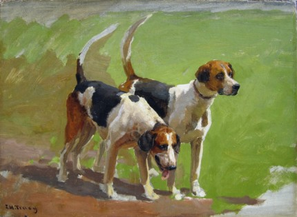 """""""Study of Two Foxhounds"""" Oil on canvas, 11 x 15 inches, 15 x 19.5 inches, Signed J.M. Tracy"""