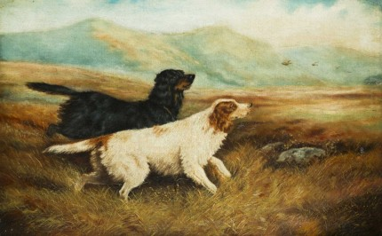 """""""Two Setters on Point"""" Oil on canvas, 18 x 28 inches, Signed JM Tracy"""