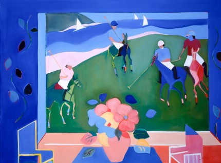 """Polo on the Beach II"" 1998, Oil on linen, 30 x 40 inches, Signed 