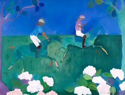 """Polo in Blue"" 1989, Oil on linen, 30 x 40 inches, Signed 