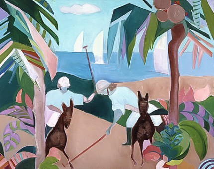 """Polo in Paradise"" 1989, Oil on canvas, 24 x 30 inches, Signed 