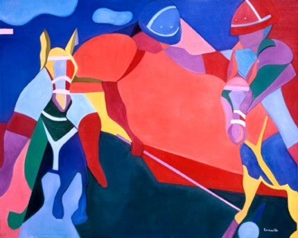 """Polo in Red"" 1996, Oil on linen, 48 x 60 inches, Signed 
