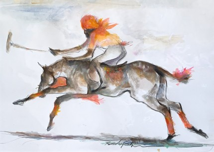 """Indian Polo Player"" Mixed media, 9 x 12 inches,14 x 18 inches with mat, Signed"