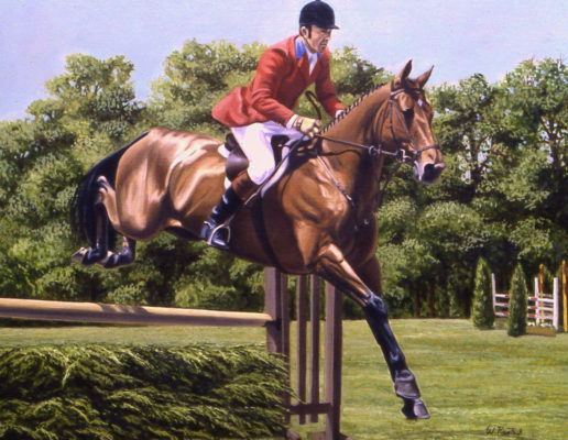 """Hunter Jumper"" Oil on canvas, 18 x 24 inches, Signed lower right"